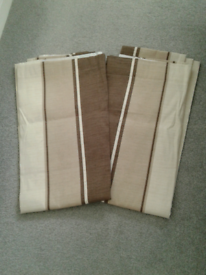 Curtains. Brown and cream.