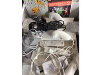 Wii console games microphone babysitting doll and guitars bundle