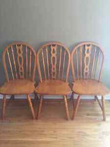 3 solid maple chairs $25 each