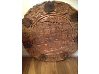 """Solid carved wooden coffee table it is 30"""" by 30"""" round , 1 and a half inch thick"""