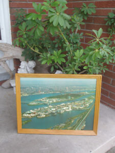 ~ Rare Vintage ~ Expo 67 Aerial View Oak Wood Frame ~