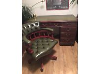 DESK AND CHESTERFIELD CAPTAIN CHAIR FREE DELIVERY