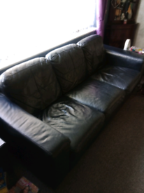 IKEA black leather 3 seater sofa and chair