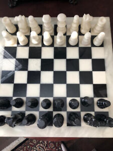 "B&W Marble Chess Set-15.5""x15.5"" Board"