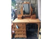Solid Pine Dressing Table / Desk + Mirror - CAN DELIVER