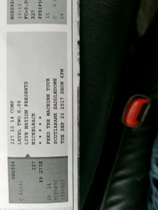 Nickelback Sept 26th Tuesday! $100 for the pair!