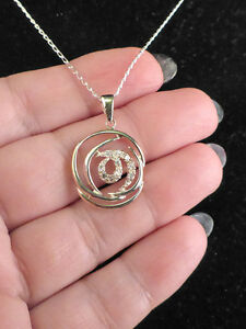 925 sterling silver circle with CZ necklace