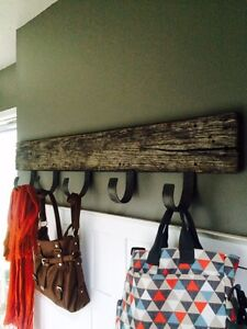 Rustic Oak barn board coat and accessory hooks