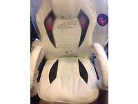 Cream Faux Leather Gaming Racing Style Chair