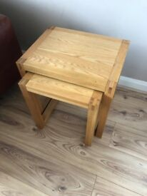 Solid Oak nest of 2 tables