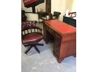 Leather top office desk and captain chair