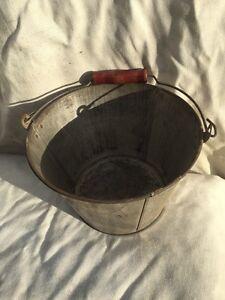 Old Galvanized Steel Pail Tin Bucket Vintage Wood Handle