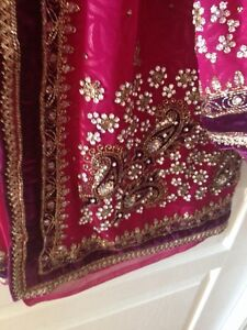 Pink saree w/ velvet and stone work*2 blouses included!*