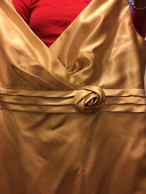 Gold satin bridesmaid dress size 18