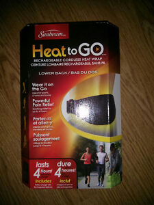NEW Sunbeam Heat-to-Go Rechargeable, Cordless Heated Back Wrap