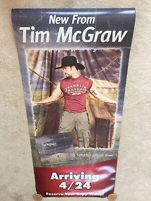 "TIM McGRAW Set this Circus Down CD Original Promo Poster 32"" X 6 FEET long NICE!"