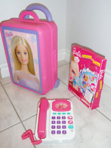 BARBIE DOLL CASE, VINTAGE TALKING PHONE, BARBIE TRAVEL GAME