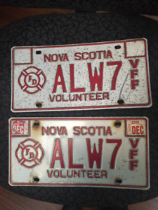 Pair of 2009 Nova Scotia Volunteer Firefighter License Plates