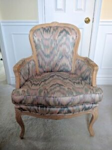 FRENCH STYLE UPHOLSTERED ARM CHAIR HIGH END FABRIC STUNNING!