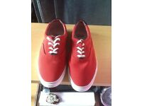 Mens red Clarks canvas shoes
