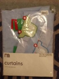 Blue cotton tab top curtains