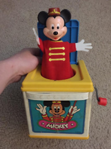 1987 Vintage Mattel Mickey Mouse Jack in the Box Made in Mexico