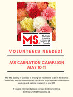 MS Society Carnation Volunteers Needed