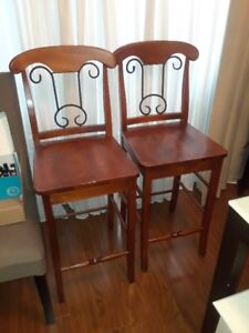Two good condition Wood & Metal bar stools