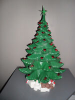 LARGE Vintage Ceramic Christmas Tree with Toys at Base