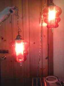 Magnifique  lampe en verre  vintage