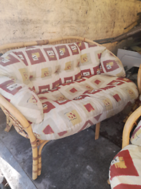 Bamboo 2 seater plus 2 single chairs
