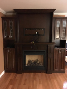 Fireplace Mantel and Side Cabinets