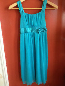 Girls Sparkly Teal dress - size 14