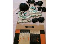 Size 6 Inline Skates & Safety Gear