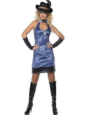Sexy Pimp Lady Costume Blue Leopard Med, UK 12/14 70's Pimp  Ladies Fancy Dress - Lady Pimp Costumes