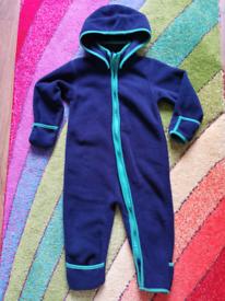 9-12m baby boys/girls fleece onesie with removable hood. LILY & DAN.