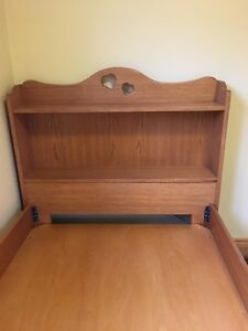 BEAUITFUL GIRLS SOLID WOOD BOOKCASE SINGLE BED & MATTRESS