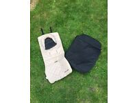 Maclaren footmuff, liner and head support. Black/champagne