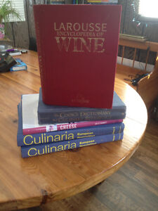 Assorted cook books plus the wine Larouse