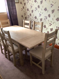 Solid wood, 6 chair, extending dining room table & matching sideboard