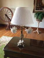 Lampe en laiton & horloge