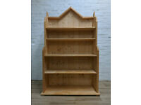 Gothic Revival Style Solid Pine Waterfall Bookcase (DELIVERY AVAILABLE