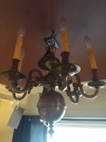 893: Antique Solid Brass Five Arm Chandelier with Ball Base