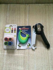Starfit peeler, True Silicone cork stoppers,can opener $10.00