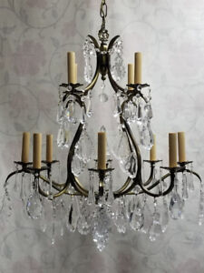 GORGEOUS 2-Tier 12-Light Crystal Chandelier – A MUST SEE!!