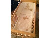 Mamas and papas glider crib with bedding also mamas and papas Moses basket and stand