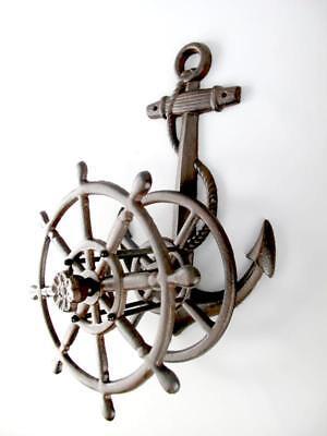 Tube Holder Maritime Anchor and Steering Wheel Garden Hose 50 cm Cast Brown