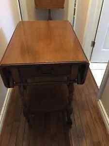 Vintage Walnut Tea Wagon