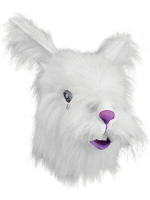 Bunny Deluxe White Kostüme (Furry White Rabbit Head Mask Rubber Latex Deluxe Fancy Dress Easter Bunny)