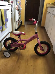 Felix & William 12in girls bike with training wheels, excellent